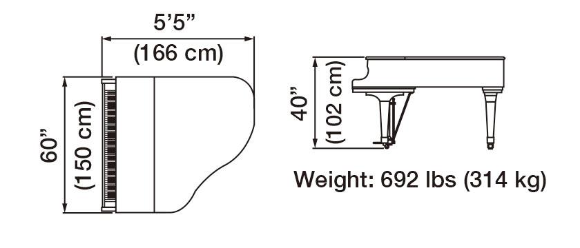 GX-1 Grand Piano Dimensions