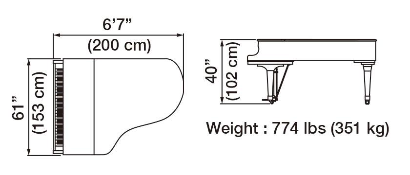 GX-5 Grand Piano Dimensions