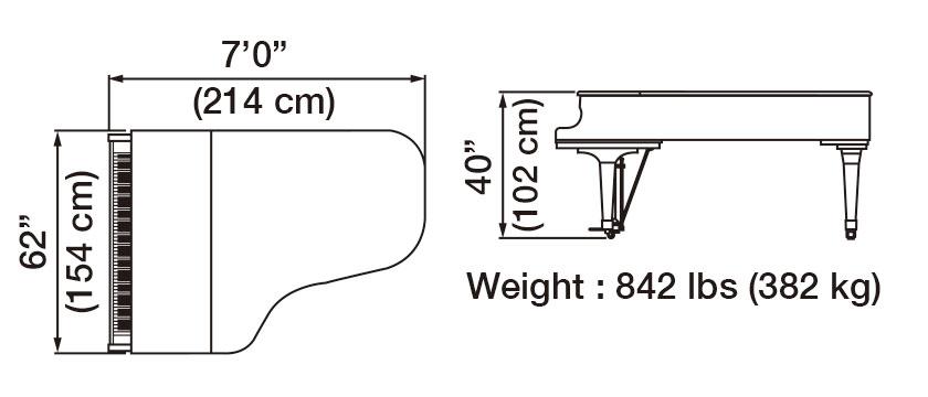 GX-6 Grand Piano Dimensions