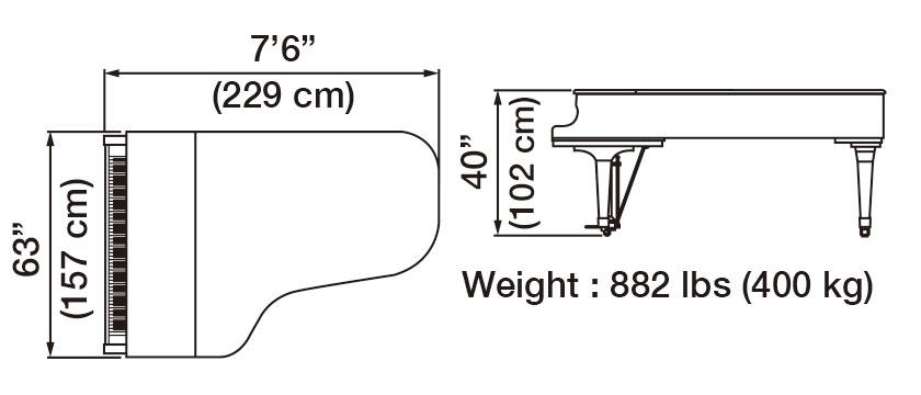 GX-7 Grand Piano Dimensions