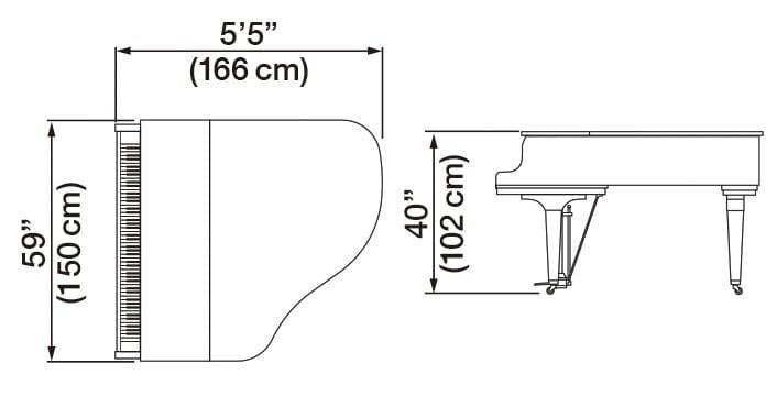 Kawai GL-30 Grand Piano Dimensions