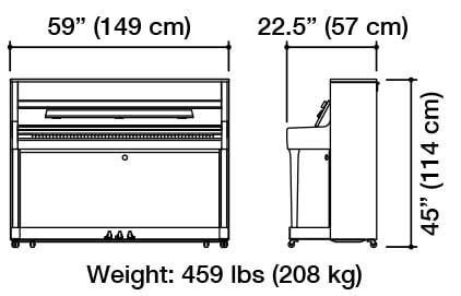 Kawai K-200 Hybrid Upright Piano Dimensions