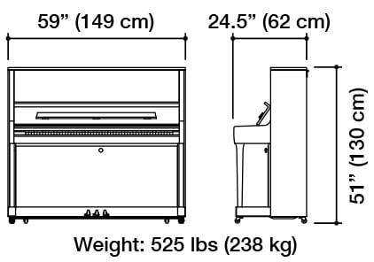 Kawai K-500 Upright Piano Dimensions